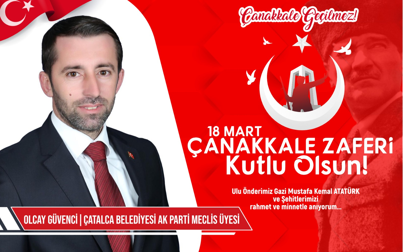 Çatalca Belediyesi AK Parti Meclis üyesi  Olcay Güvenci'den Kutlama ve Anma mesajı